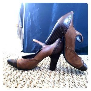 Merona Melva Mary-Jane Oxford Brown Heels 7